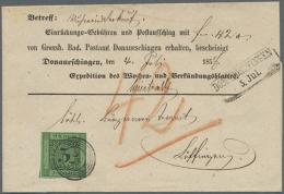 """1853, 3 Kr. Schwarz Auf Grün Mit Nr-St. """"27"""" Auf Vordruck-Emfangsbestätigung Mit Neben-Ra2... - Baden"""