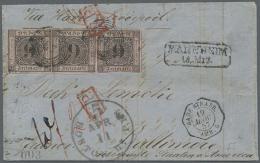 """1851, 9 Kr. Schwarz Auf Lilarosa, Drei Einzelwerte Als Streifen Geklebt Mit Nummern-Stempel """"87"""" Auf Faltbrief Aus... - Baden"""