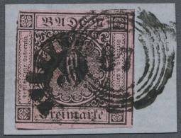 """1851, 9 Kr. Schwarz Auf Lilarosa Mit Nr.-St. """"87"""" (Mannheim) Und Mit FREMDENTWERTUNG Durch Bayerischen... - Baden"""