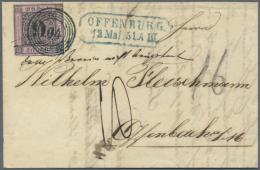 """1851, 9 Kreuzer Schwarz Auf Rosalila, 1. Auflage, Klar Entwertet Mit Schwarzblauem """"104"""" Plus Federzug Als EF Auf... - Baden"""