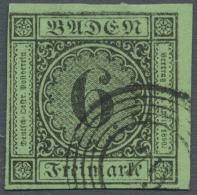 1852, Freimarke 6 Kr. Schwarz Auf Gelbgrün, Allseits Voll/breitrandig Aus Der Rechten Oberen Bogenecke,... - Baden