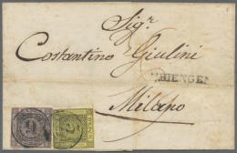 1851-1852, Freimarke 3 Kreuzer Schwarz Auf Gelb Und 9 Kreuzer Schwarz Auf Lilarosa, Entwertet Mit Blauem... - Baden