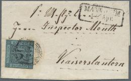 1851/1854, 3 Briefe Aus Baden Bzw Der Kurpfalz In Die Bayr. Pfalz: 3 Kr Gelb Aus Kehl Nach Primasens, 3 Kr Blau Mit... - Baden