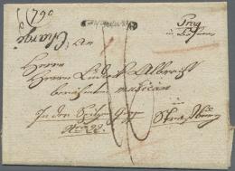 1806, PASSE PAR KEHL, Roter L1 Rs. Auf Charge-Faltbriefhülle Von Prag Nach Straßburg, Div. Taxvermerke.... - Baden