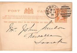 Australia PSC(Entire) Duplex Canc.Victoria-Melbourne 14/9/1894 Fashion Repiquage PR3900 - Postal Stationery