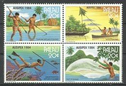 Palau 1984, Esposizione Filatelica Internazionale A Melbourne (**), Serie Completa In Blocco - Palau