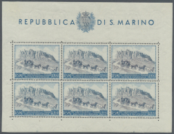 1949/1951, 75th Anniversary Of UPU (Michel Nos. 438/39, 456), Mint Assortment Of 22 Stamps And 13 Mini Sheets (two...
