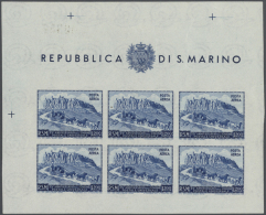 1949/1961, Postfrisches Lot Von Sieben Kleinbogen: MiNr. 438 (2), 439 B/C, 456, 696, 700. Mi. 1.990,- €. (ex...