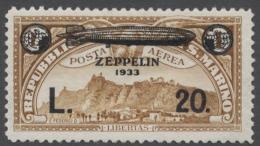 1933, Nicht Verausgabte Zeppelin- Flugpostmarke 20 Lira Auf 1 Lire Gelbbraun Und Aufdruck Zeppelin Nach Rechts...