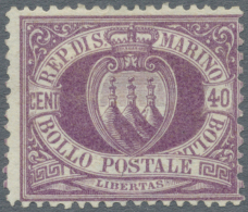1877, Definitives Coat Of Arms, Lot Of Five Unused Stamps: 30c. Brown (2), 40c. Violet (3), Partly Signed. (D)