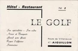"""Carte Commerciale Hôtel Restaurant """" Le Golf """" / Aiguillon 47 / Rte De Villeneuve - Cartes"""