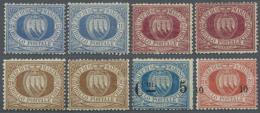 1877/1892, Landeswappen Acht Bessere Werte U.a. Je 2 X 10 C. Ultramarin, 25 C. Braunkarmin Und 30 C. Braun Sowie...