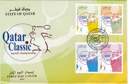 Qatar Sqaush Championship 4 Stamsps Complete Set On Official FDC- Reduced Price - Qatar