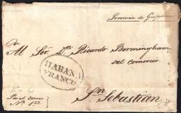 1828. ESPAÑA. SPAIN. LA HABANA A SAN SEBASTIAN. - Cuba