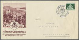 1936, 42. Deutscher Philatelistentag, Privatganzsachenumschlag Ziffer 8 Pf Neben 8 Pf, 3 Verschiedenfarbige Bilder,...