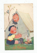 Cp , Illustrateur , Signée : Béatrice MALLET , Enfants , LE CAMPING , écrite - Illustrators & Photographers