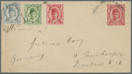 1903 - 1911, Four Covers And One Postal Stationery Envelope With Uprated Franking, Interesting Items Like A Cover...