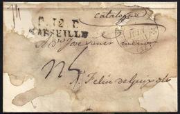 CORREO DESINFECTADO. 1830. ESPAÑA. SPAIN. MARSELLA A SANT FELIU DE GUIXOLS. - España