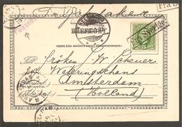 FRA SVERIGE & PAQUEBOT ! Helsingor>Nederland 1901. Cp Helsingborg Hamnpaviljongen
