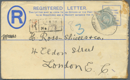 """189371912, Lot Of Nine Comercial Items: Stationery Registered-covers, 1897 Niger-coast, Red Cancel """"WARRI A SP 6..."""