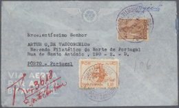 1945/1947, Four Domestic And Large-sized Covers With Special Airmail Stamps For Use Within The Colony Incl.... - Angola