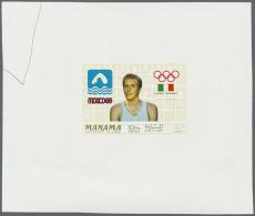 1968, Olympische Spiele, Zwei Entwürfe Auf Kleinem Block, Einer Mit Tintenstift. 1968 Olympic Games, Two... - Manama