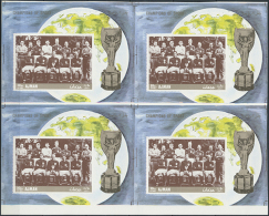 1970 (ca.), Champions Des Sports, Fußball-Nationalmannschaft England, 4 Blocks Im Unzerschnittenen... - Ajman