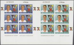 1969, Champions Of The Sport, Six Values In Each Cut Sheet. (D) - Ajman