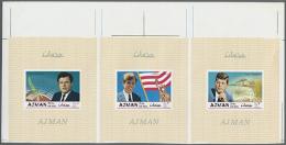 1969, Kennedy, 3 Ungezähnte Zusammenhängende Blocks, Postfrisch Ungezähnt. 1969 Kennedy, 3... - Ajman