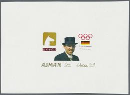 1968, Olympische Spiele, Zwei Entwürfe Auf Kleinem Block. 1968 Olympic Games, Two Designs On A Small Block.... - Ajman