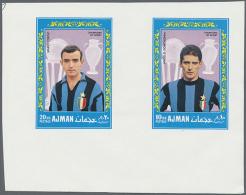 1968, Fußball-Weltmeisterschaft, Vier Entwürfe Auf Zwei Kleinen Blocks. 1968 FIFA World Cup, Four Drafts... - Ajman
