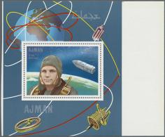 1968, Einzelblock Zu Apollo 7 Mit Abbildung J. Gagarin, Drei Unfertige Blocks, Postfrisch. 1968 Single Block To... - Ajman