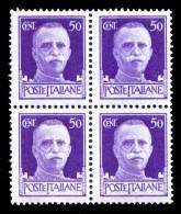 REGNO 1929 Serie Imperiale Effige Di V.E.III Quartina Cent. 50 C. MNH ** Integra - 1900-44 Victor Emmanuel III