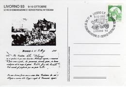 Italia 1993 Livorno Annullo Cartolina Diligenza LE VIE DI COMUNICAZIONE E I SERVIZI POSTALI IN TOSCANA