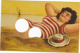 Carte à Trous -- Etendue Sur La Plage... - Doigts à Placer - Cartoline Con Meccanismi