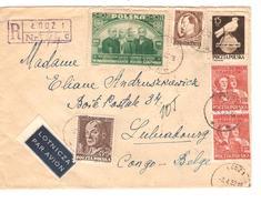 Polska-Pologne Air Mail Registered Cover Lodz 1952 To Luluabourg Belgian Congo PR3909 - 1944-.... Republik