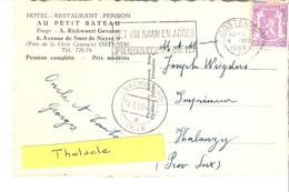 """Publicité-Oostende-Ostende-1949-""""Au Petit Bateau""""-Hotel-Restaurant-près De La Gare-Pension-CP D'Ostende-Horloge Fleurie - Hotels & Restaurants"""