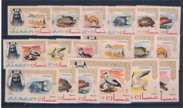 Ajman. Seies De Tematicas Fauna. Peces Y Aves - Sellos