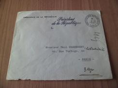 Lettre En Tête Présidence Griffe Président De La République  En Franchise Paris PR  Le 02/03/1957   B/TB !!! - Marcophilie (Lettres)
