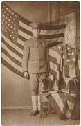 Carte Photo Militaire - Militaire Américain, Drapeau - Guerre 1914-18