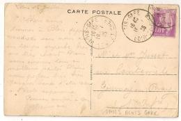 BLOIS  GARE Loir Et Cher Sur CPA Au Type PAIX. 1935. - Postmark Collection (Covers)