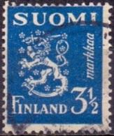 Finland 1936 3.50.mk Leeuw Blauw GB-USED