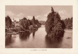 LA MARNE A VARENNE, Animée, Barques, Planche Densité = 200g, Format 20 X 29 Cm, (L.L.) - Géographie