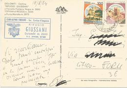 TIMBRO SU CART. CLUB ALPINO ITALIANO SEZ. DI CORTINA RIF. GIUSSANI - Timbri Generalità