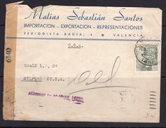 España 1944. Carta De Valencia A Milford. Censura. - Marcas De Censura Nacional