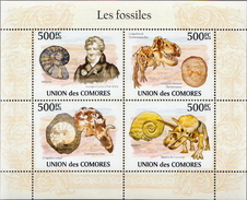 Comores MNH Fossils Sheetlet And SS