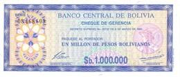 * BOLIVIA 1 MILLION PESOS BOLIVIANOS 1986 P-192C UNC  [BO192C] - Bolivia