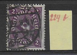 1922 - Mi Nr. 224 B  Gestempelt - KW = 110 Euros Geprüft INFLA BERLIN