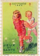 CROIX ROUGE - GRANDE VIGNETTE ENFANT  JEUX ET SANTE- TUBERCULOSE 1933- VACCIN BCG- PLUMEREAU IMPRIMERIE DELRIEU - France