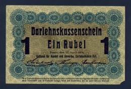 Banconota Germania Occupazione Tedesca 1 Rubel 1916 FDS - To Identify